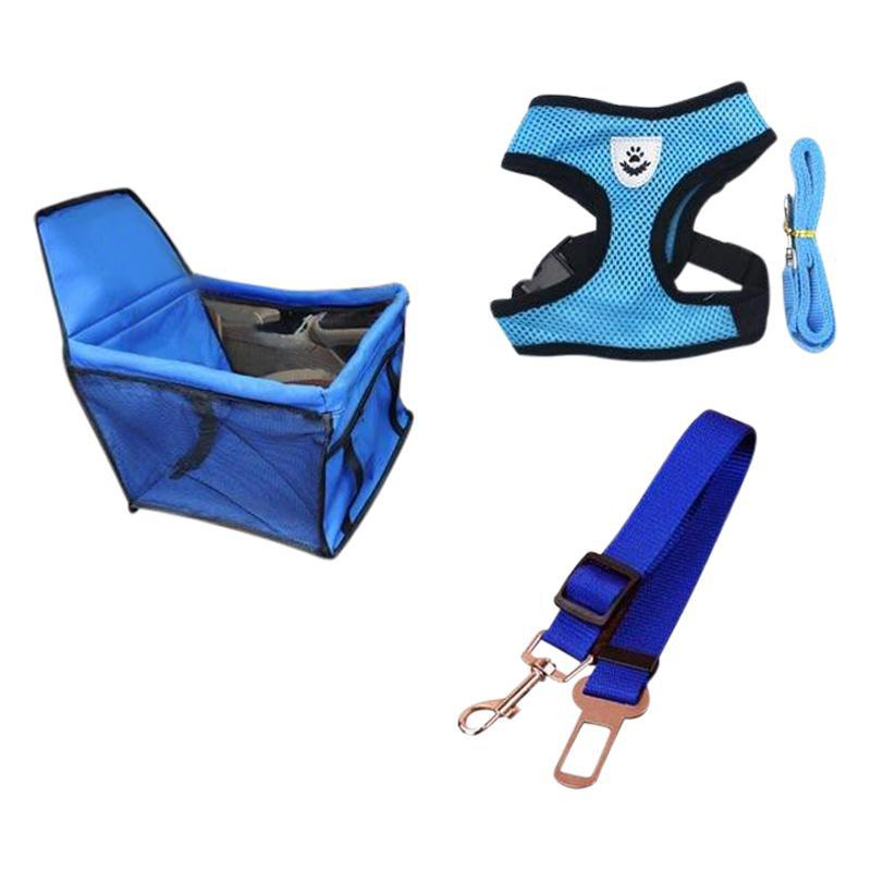 Dog Car Seat, Seat Belt, Dog Harness and Leash Bundle-Dog Car Booster Seats-Blue Bundle 2-S = 34 x 24 cm-17141738-blue-bundle-2-s-Paws and Whiskers