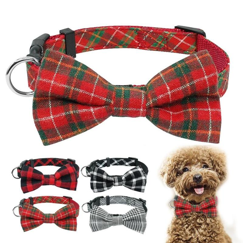 Dog Collar in Tartan Plaid Pattern with Detachable Bow-Dog Collars-Black-S-18299763-black-2-s-Paws and Whiskers