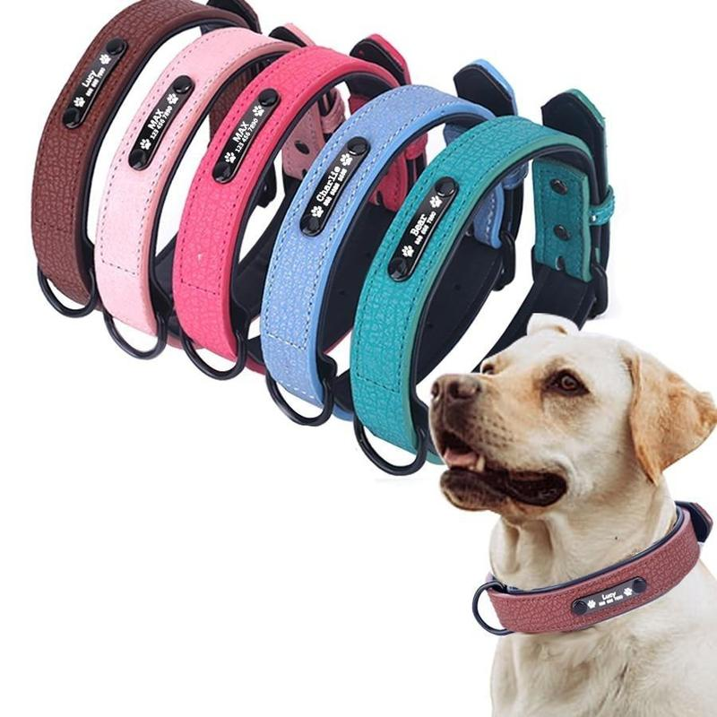 Dog Collar with Personalized Name Tag-Dog Collars-Black-S-27180068-black-s-neck-25-31cm-china-Paws and Whiskers