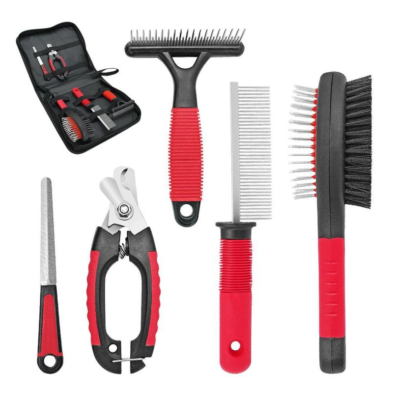 Dog Grooming Kit for Short & Long Hair Dogs-Dog Brushes, Combs & Blowdryers-19928024-red-free-size-Paws and Whiskers