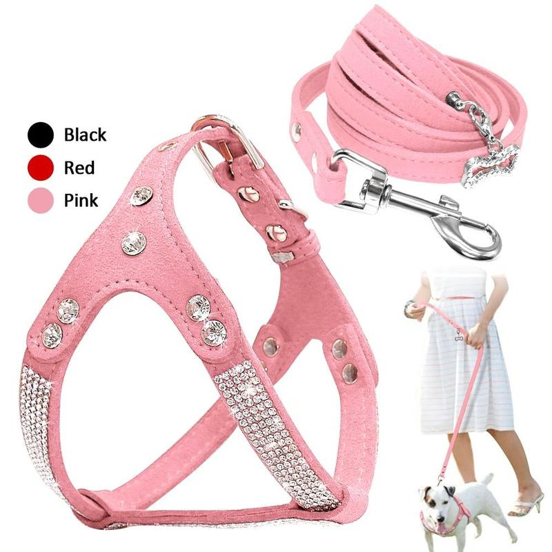 Dog Harness with Rhinestone Decoration for Small Dog-Dog Harnesses-Black-S-9311632-black-s-Paws and Whiskers