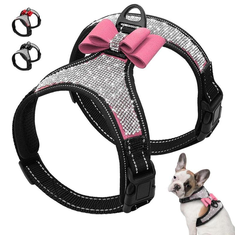 Dog Harness with Sparkling Rhinestones Decoration-Dog Harnesses-Black-S-20692523-black-s-Paws and Whiskers