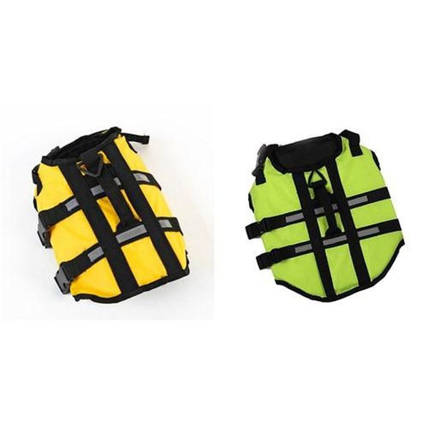 Dog Life Jacket for Swimming with Quick Release Buckle-Dog Sweaters & Coats-Green-S-624785-green-s-Paws and Whiskers