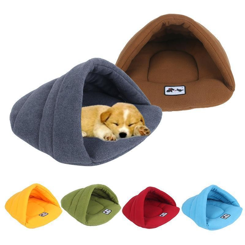 Dog Sleeping Bag with Cave Shape Design Made of Soft Fleece-Dog Beds-Blue-XS = 35 x 27 cm-13154478-skyblue-xs-Paws and Whiskers