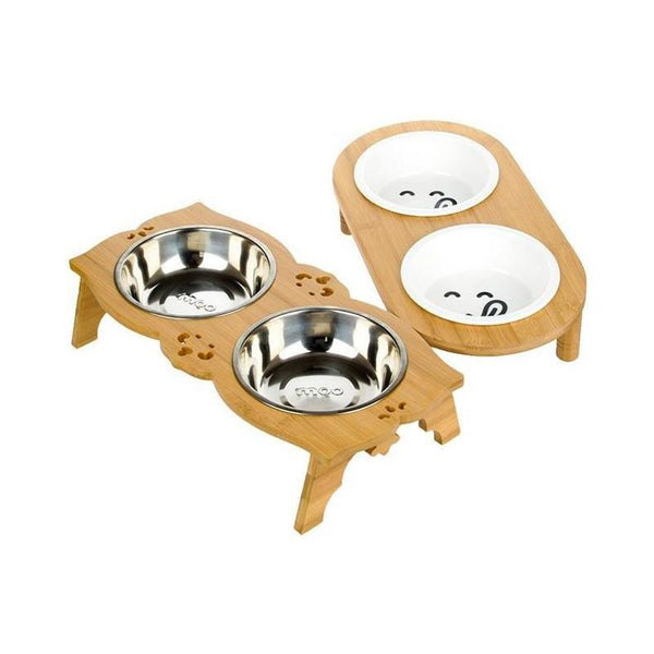 Double Cat Bowl with Bamboo Stand-Cat Food & Water Bowls-Single-12077982-white-m-Paws and Whiskers