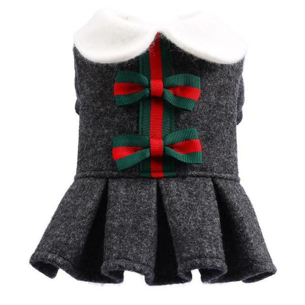 Dress With Bows for Small Dogs and Cats-Dog Costumes & Dresses-XS-28497032-dark-gray-xs-Paws and Whiskers