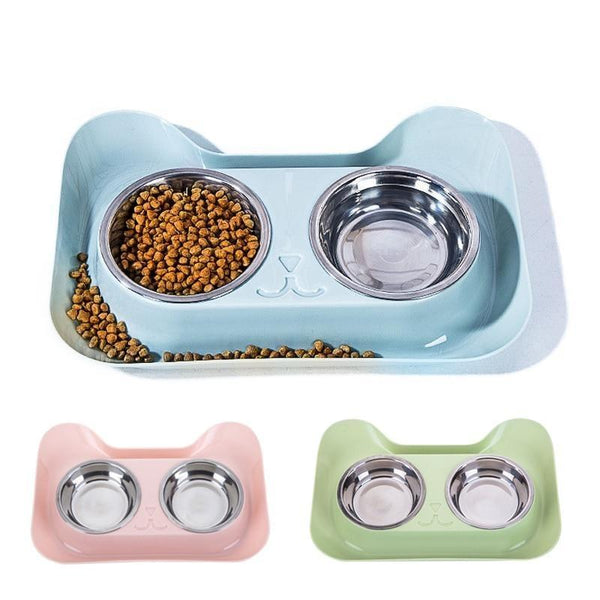 Dual Elevated Non Slip Cat Food Bowls with Spill Guard-Cat Food & Water Bowls-Blue-25273754-blue-Paws and Whiskers