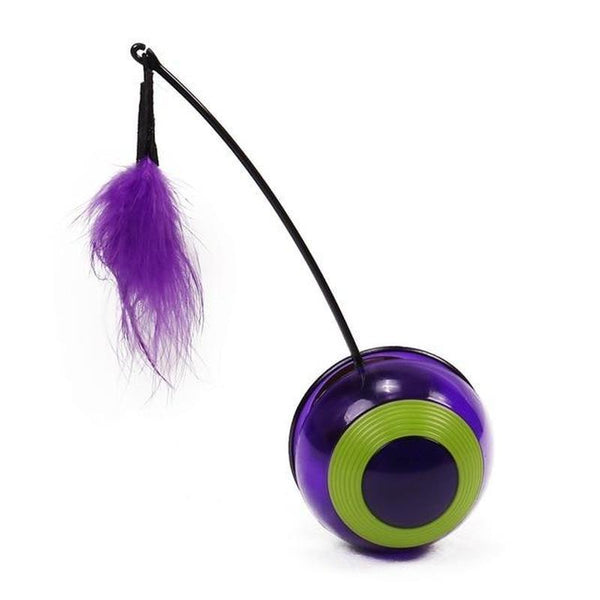 Electronic Rotating Ball Cat Toy with Sound, LED, & Feather-Cat Balls & Chasers-16772157-as-picture-free-size-china-Paws and Whiskers