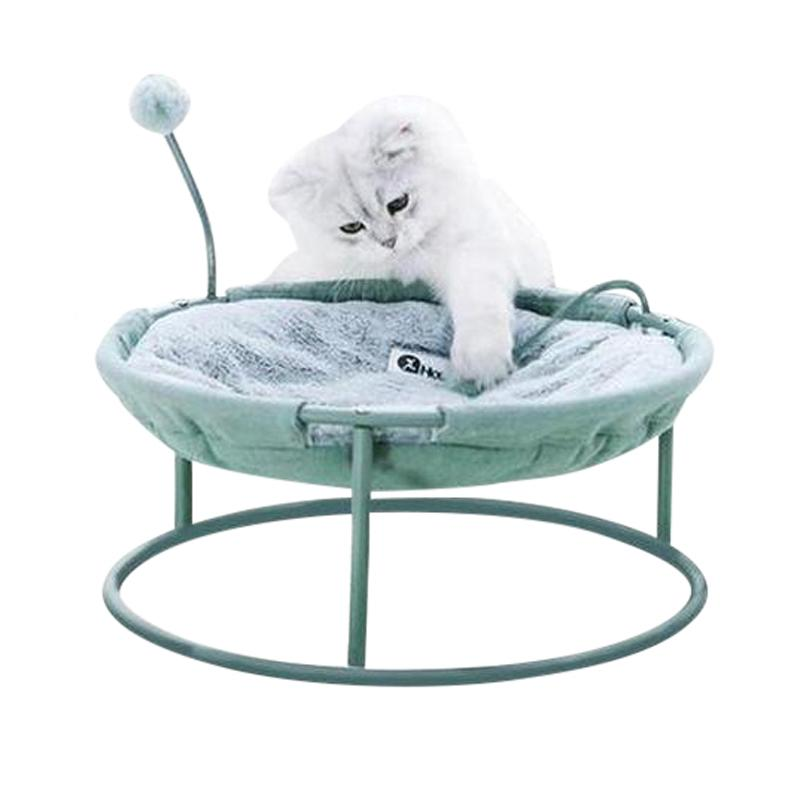 Elevated Cat Bed with Interactive Ball Toy-Cat Beds-Green-34791756-green-one-size-Paws and Whiskers