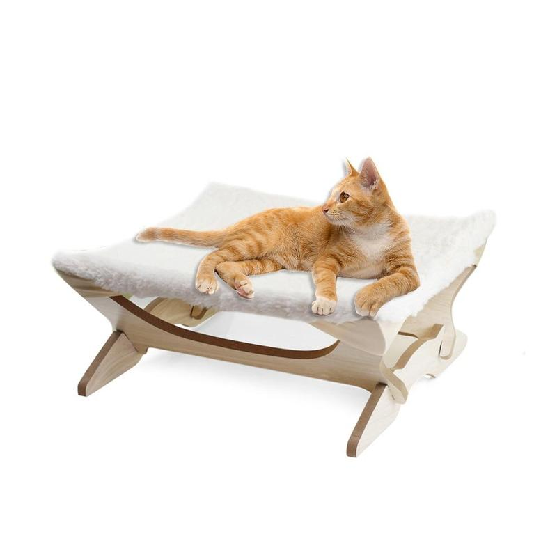Elevated Soft Cat Bed with Collapsible Stand-Cat Beds-Blue-31395923-blue-Paws and Whiskers