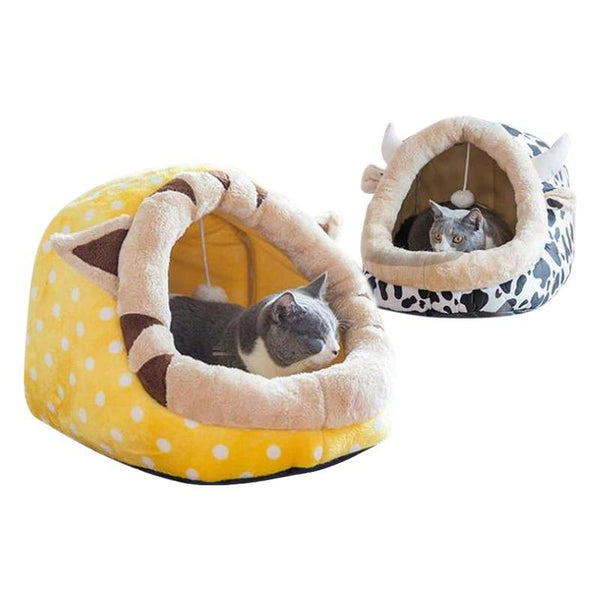 Extra Warm and Cozy Animal-Shaped Cat Bed-Cat Houses-Beige & Cow-S-30329267-white-s-china-Paws and Whiskers