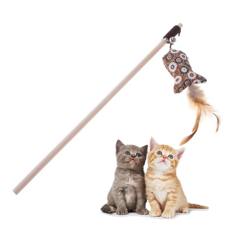 Feather Cat Toy Teasing Wand-Cat Balls & Chasers-Blue Ball-21614788-blue-ball-Paws and Whiskers