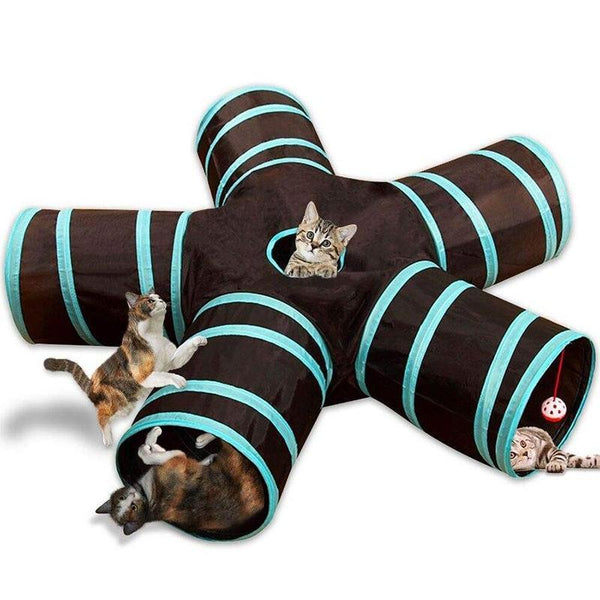 Five Way Foldable Cat Tunnel with Bells-Cat Tunnels-29618540-01-china-Paws and Whiskers