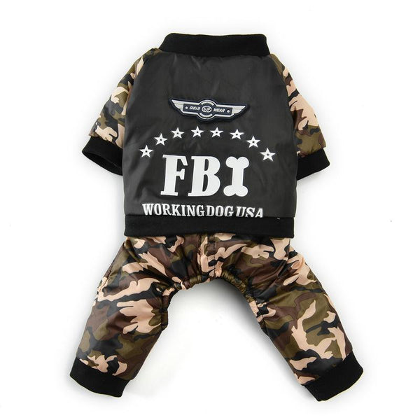 Fleece Dog Sweater With FBI Print-Dog Costumes & Dresses-XS-20099756-camouflage-xs-Paws and Whiskers