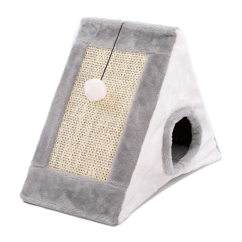Fluffy Cat House with Scratcher Board and Hanging Cat Ball-Cat Scratchers & Towers-Gray-Large-29621237-black-as-show-Paws and Whiskers