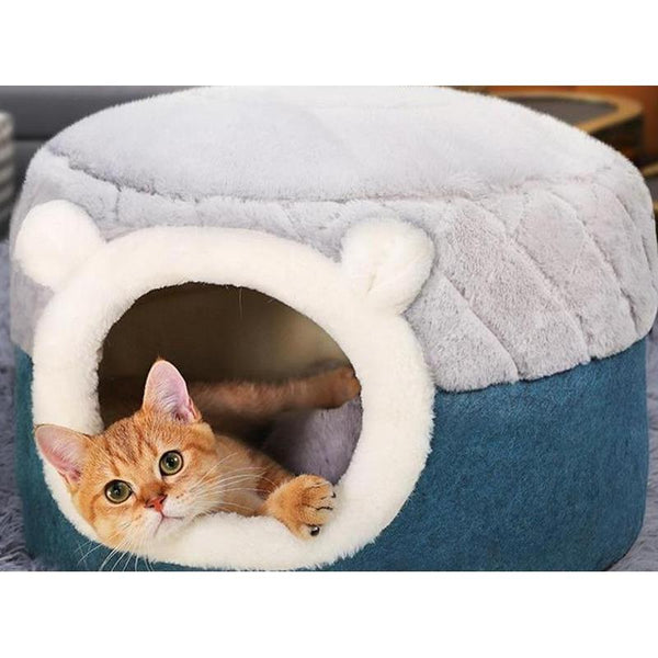 Fluffy Plush Cat House with Warm Cushion for Cats and Dogs-Cat Houses-S = 40 x 40 x 31 cm-31330346-gray-s-40x40x31cm-Paws and Whiskers