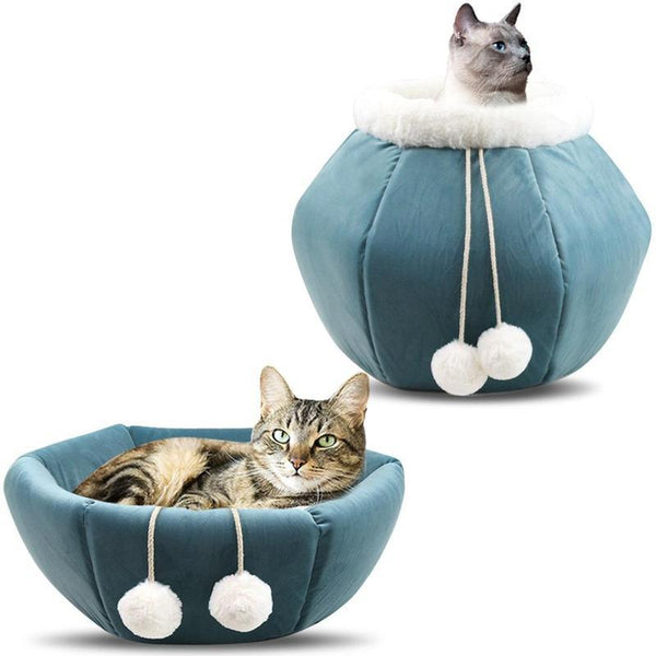 Foldable Cat Cave Bed Made From Washable Coral Fleece-Cat Beds-Blue-30976075-blue-Paws and Whiskers