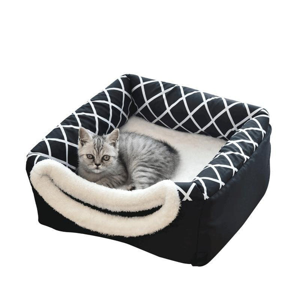 Foldable Cat Igloo Style Bed Made From Cotton-Cat Houses-Black-S = 35 x 33 x 30 cm-28735251-black-s-35-x-33-x30-cm-china-Paws and Whiskers