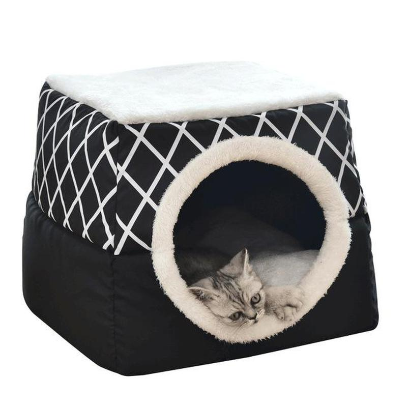 Foldable Cat Igloo Style Bed Made From Cotton-Cat Houses-Black-L = 38 x 38 x 34 cm-28735251-black-l-38-x-38-x-34cm-china-Paws and Whiskers
