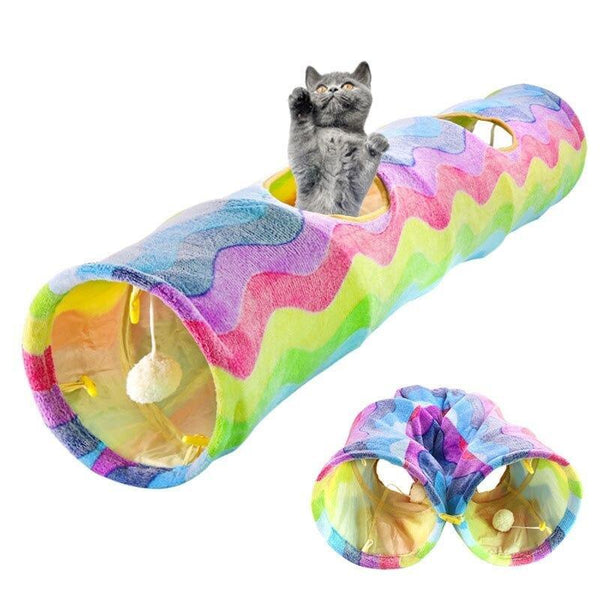 Foldable Cat Tunnel With Multiple Entrances & Cat Ball-Cat Tunnels-34392728-rainbow-Paws and Whiskers