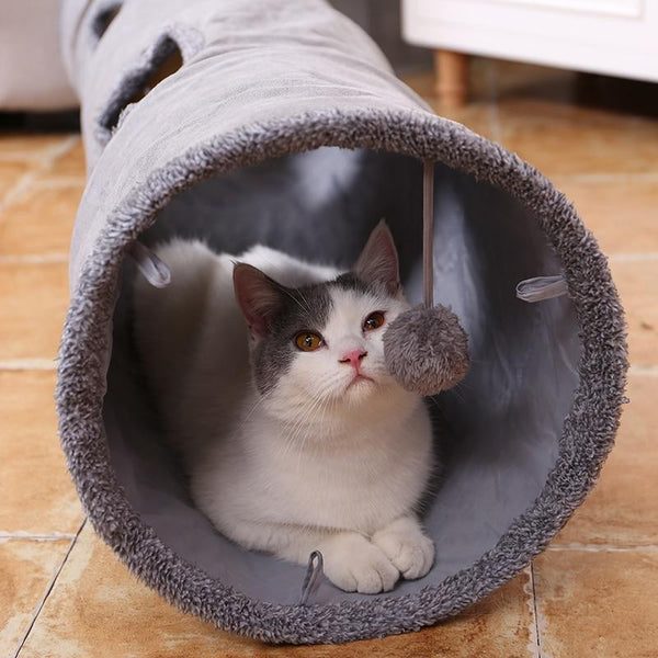 Foldable Cat Tunnel with Solid Spring Structure Steel Frame-Cat Tunnels-67x30cm-15954463-as-photo-67x30cm-china-Paws and Whiskers