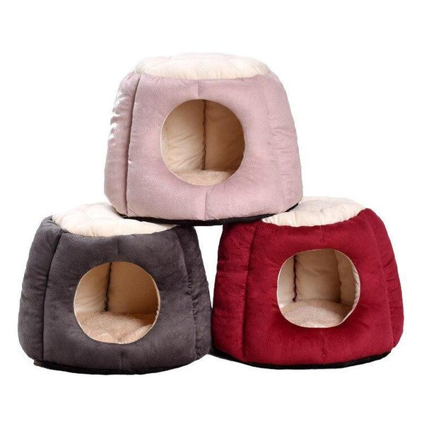 Foldable Winter Cat House with a Removable Fluffy Cushion-Cat Houses-Gray-M = 40 x 32 cm-28735195-gray-m-china-Paws and Whiskers