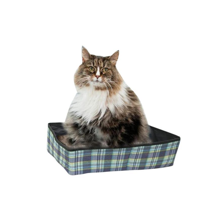 Folding Cat Litter Box with Waterproof Layer for Travel-Cat Litter & Litter Boxes-15272228-blue-m-Paws and Whiskers