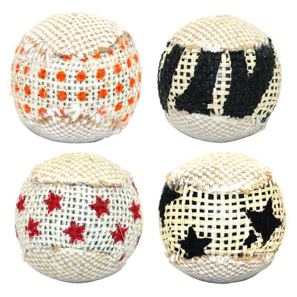 Four Piece Cat Ball Set Made Rattan Look-Cat Balls & Chasers-1333442-mixed-m-Paws and Whiskers