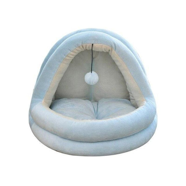 Half Cover Winter Cat Bed-Cat Beds-Light Blue-XL-31269956-light-blue-xl-Paws and Whiskers