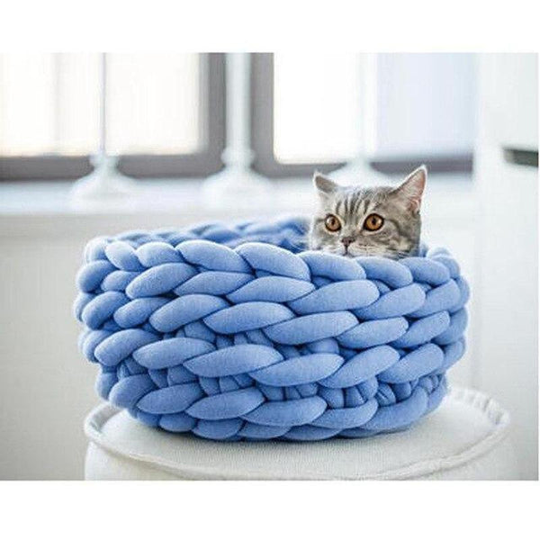 Handmade Knitted Cat Bed-Cat Beds-Blue-35cm-19757510-blue-35cm-Paws and Whiskers