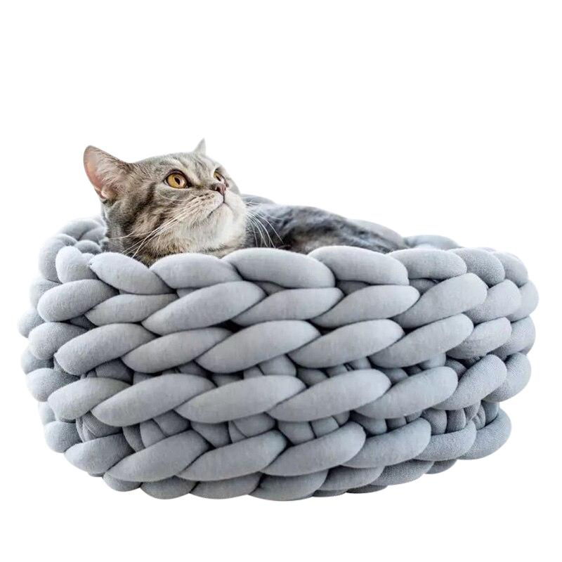 Handmade Knitted Cat Bed-Cat Beds-Gray-35cm-19757510-gray-35cm-Paws and Whiskers