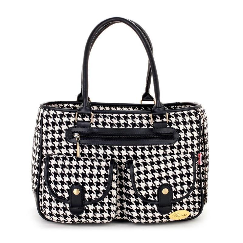 Houndstooth Handbag Dog Carrier Backpack-Dog Travel Carriers-34997412-black-s-Paws and Whiskers