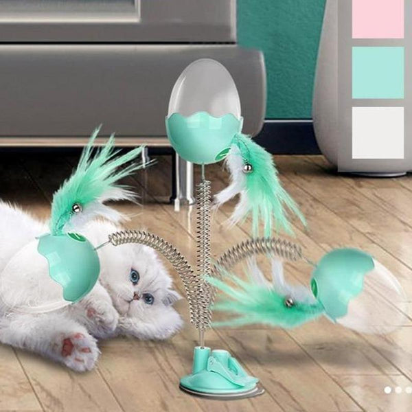Interactive Egg-Shaped Cat Toy with Elastic Wire and Feather-Cat Balls & Chasers-Green-33924625-green-Paws and Whiskers
