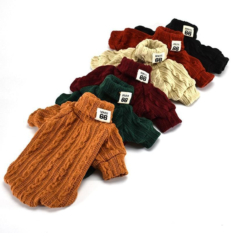Knitted Turtleneck Winter Dog Sweater for Small Dogs-Dog Sweaters & Coats-Beige-XS-20075254-beige-xs-Paws and Whiskers