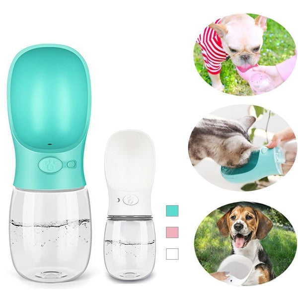 Leak-Proof Portable Dog Water Bottle for Travelling-Dog Food & Water Bowls-Blue-350ML-15262306-blue-350ml-Paws and Whiskers