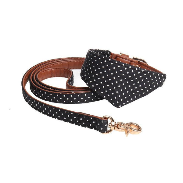 Matching Dog Collar & Leash with Polka Dot Pattern-Dog Leashes-Black Bow Collar-S-17911185-black-bow-collar-s-Paws and Whiskers
