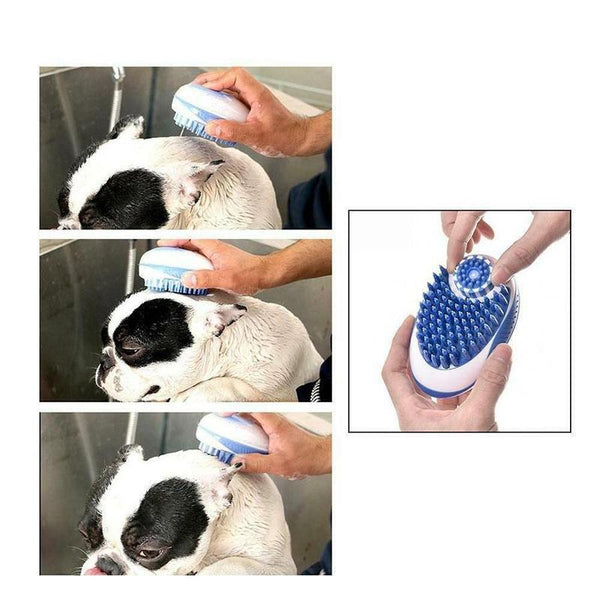 Multifunction Dog Brush for Bath Time. Applies Shampoo and Massage-Dog Bath & Shower-Blue-29252668-blue-as-shown-china-Paws and Whiskers