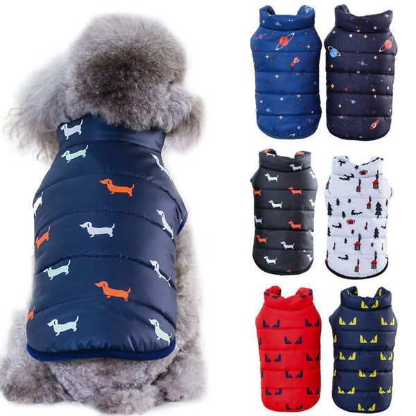 Padded Dog Bodywarmer Jacket with Cute Prints for Small Dogs-Dog Sweaters & Coats-Black With Dog Print-S-29305979-black-dog-s-Paws and Whiskers