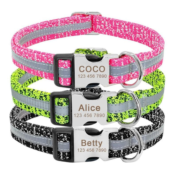 Personalized Dog Collar for Medium and Large Dogs-Dog Collars-Black-S-24050528-black-s-Paws and Whiskers