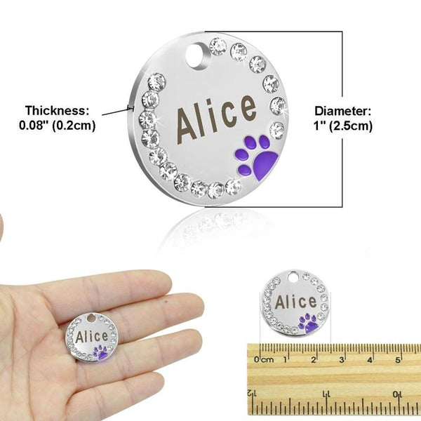Personalized Engraved Stainless Steel Dog Collar ID Tag-Dog ID Tags-Black Paw-23069082-5-free-size-Paws and Whiskers