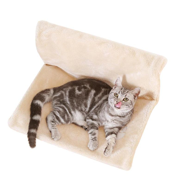 Pillow style Cat Bed Suitable For Windowsill Or Radiator-Cat Window Perches-Beige-46 x 30 x 25 cm-22865758-beige-l-46x30x25-cm-Paws and Whiskers