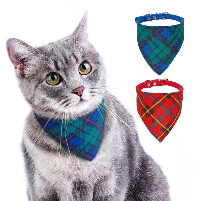 Plaid Dog Bandana with Adjustable Strap for Dogs and Cats-Cat Bandanas, Bows & Hats-Green-21-26cm-20775130-green-s-21-26cm-Paws and Whiskers