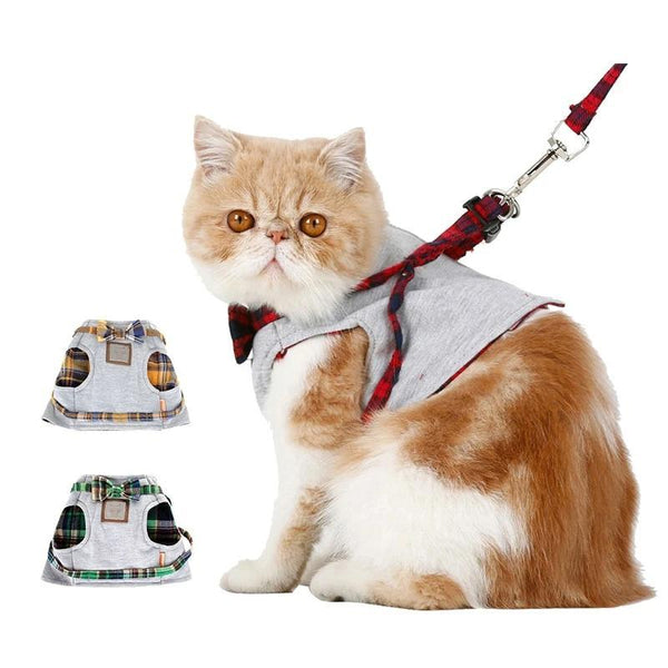 Plaid Kitten and Puppy Harness Vest with Leash-Cat Harnesses-Green-XS-982116-green-xs-Paws and Whiskers