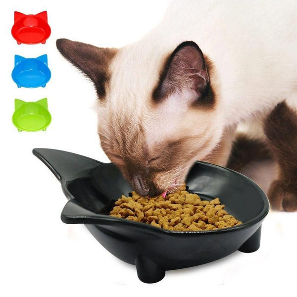 Plastic Cat Food Bowl In a Range Of Bright Colors-Cat Food & Water Bowls-Black-M-14686226-black-m-Paws and Whiskers