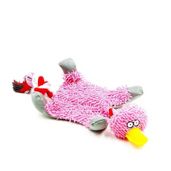 Plush Duck Rope Dog Toy in a Range of Bright Colors-Dog Rope Toys-Pink-852657-pink-m-Paws and Whiskers