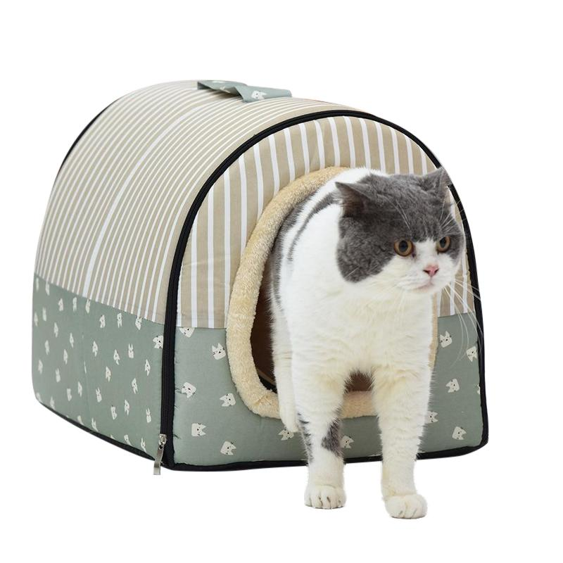 Portable Cat House Bed Made From 100% Cotton-Cat Houses-Blue w/ Stripes-S = 35 x 30 x 27 cm-32392440-6-35cmx30cmx27cm-china-Paws and Whiskers