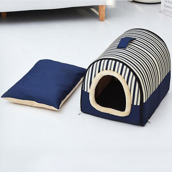 Portable Cat House Bed Made From 100% Cotton-Cat Houses-Blue w/ Stripes-M = 45 X 35 x 32 cm-32392440-6-45cmx35cmx32cm-china-Paws and Whiskers