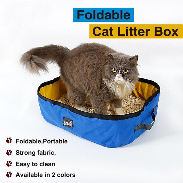 Portable Cat Litter Box for Travel and Outdoor Use-Cat Litter & Litter Boxes-Blue/Yellow-26357392-blue-one-size-Paws and Whiskers
