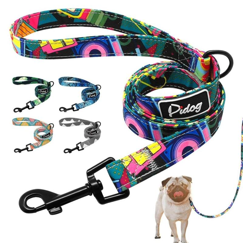 Printed Dog Leash in a Range of Bright Colors 120cm-Dog Leashes-Baby Blue-26525236-baby-blue-m-Paws and Whiskers