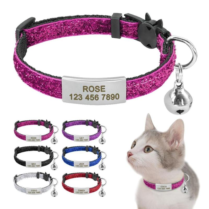 Quick-Release Cat Collar with Customized Name Tag and Bell-Cat Collars-Black-XS-28033358-black-xs-Paws and Whiskers